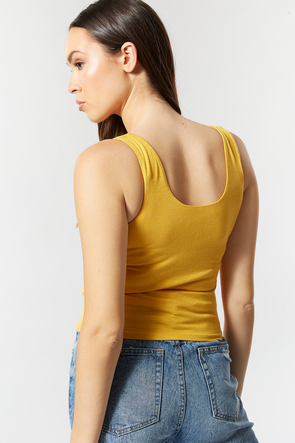 Double Lined Scoop Neck Tank Mustard