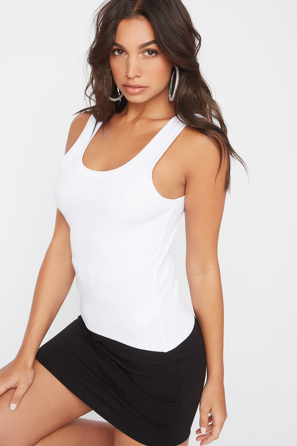 Ribbed Scoop Neck Tank White
