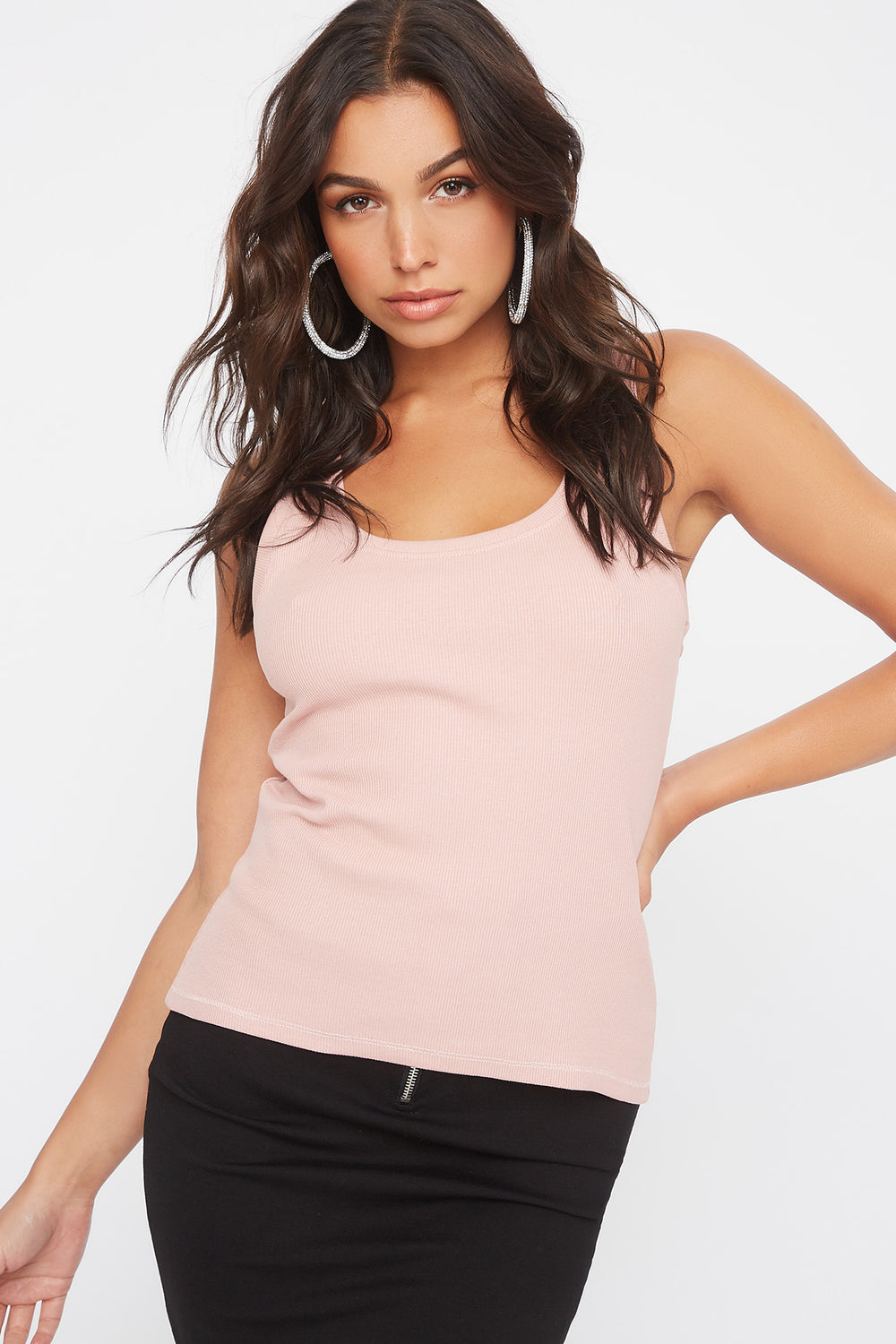 Ribbed Scoop Neck Tank Mauve