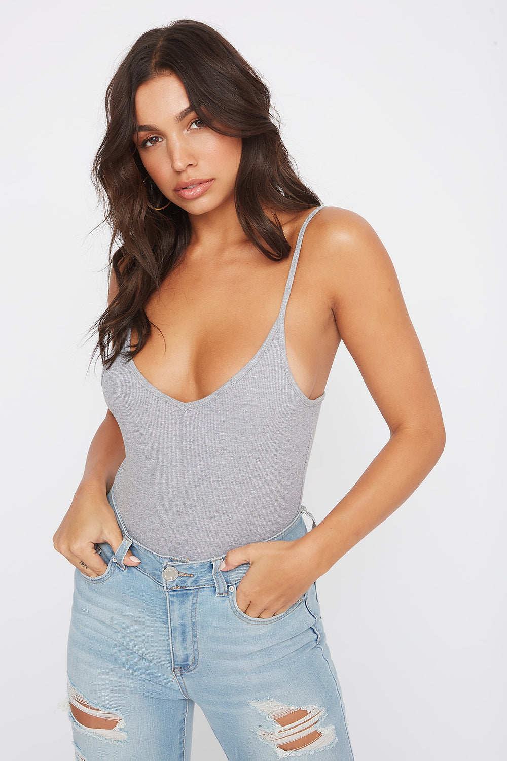 Ribbed V-Neck Tank Heather Grey