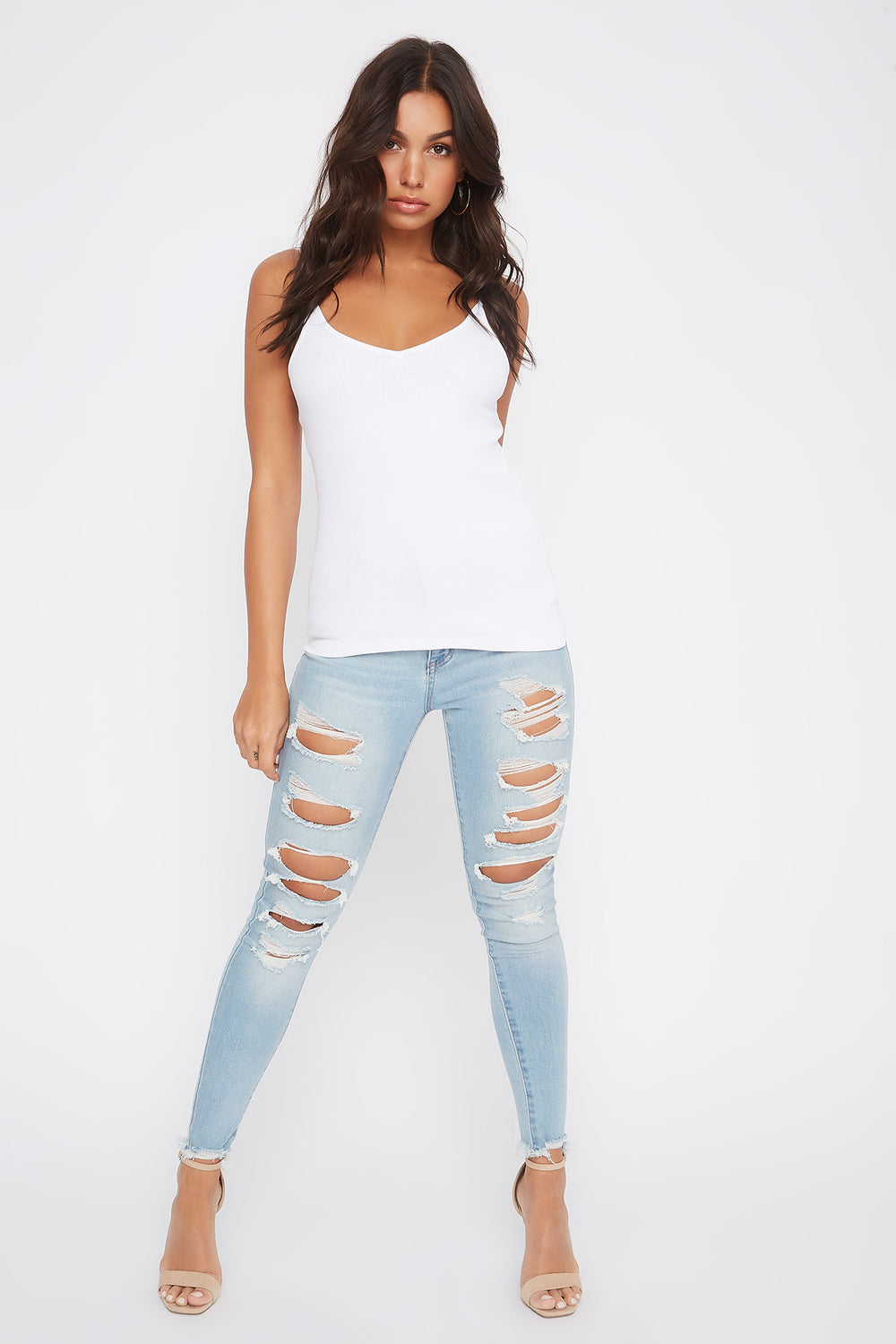 Ribbed V-Neck Tank White