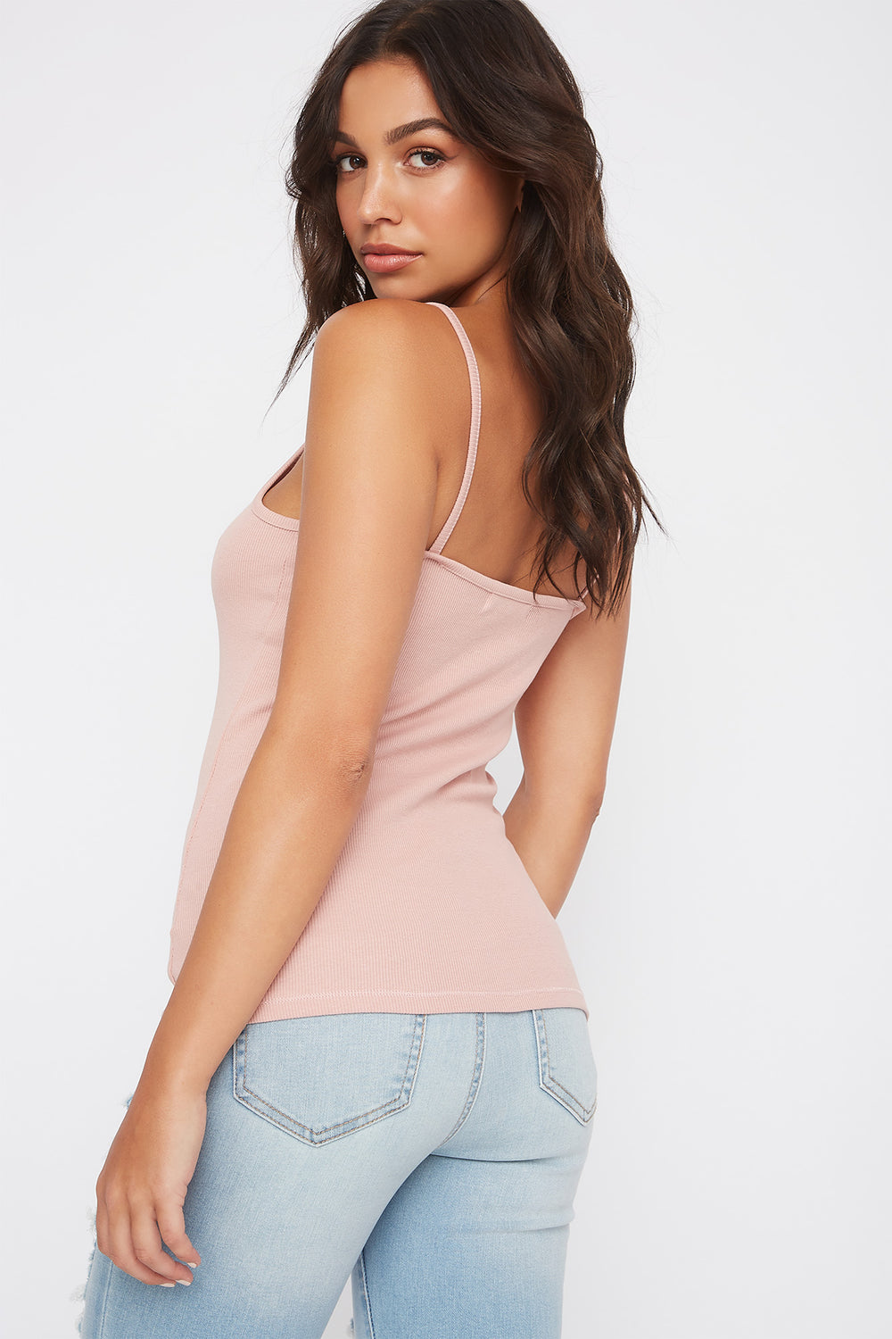 Ribbed V-Neck Tank Mauve