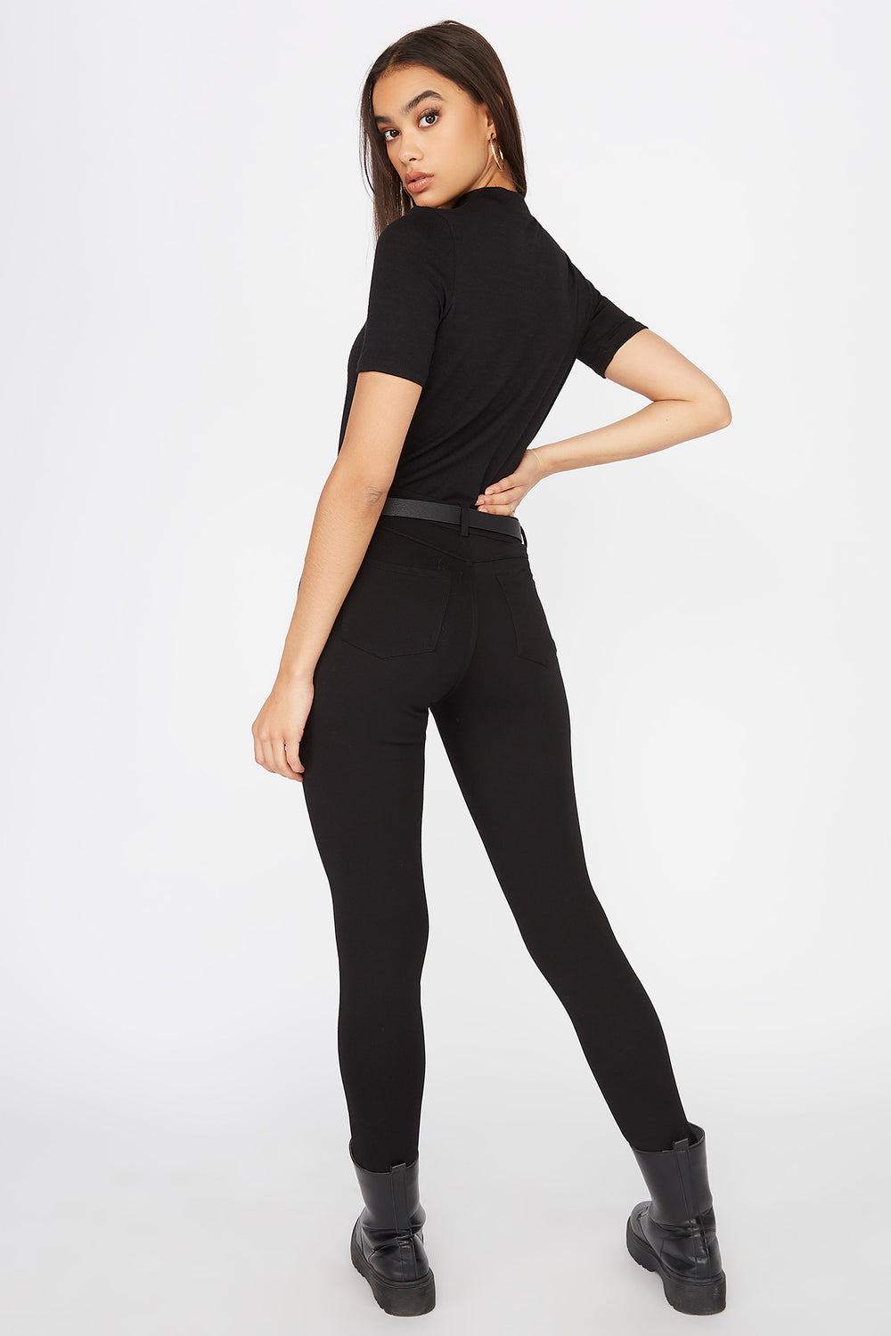 Heather Mock Neck Short Sleeve Black
