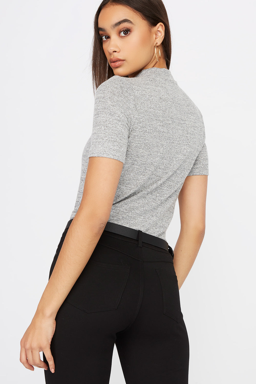 Heather Mock Neck Short Sleeve Heather Grey