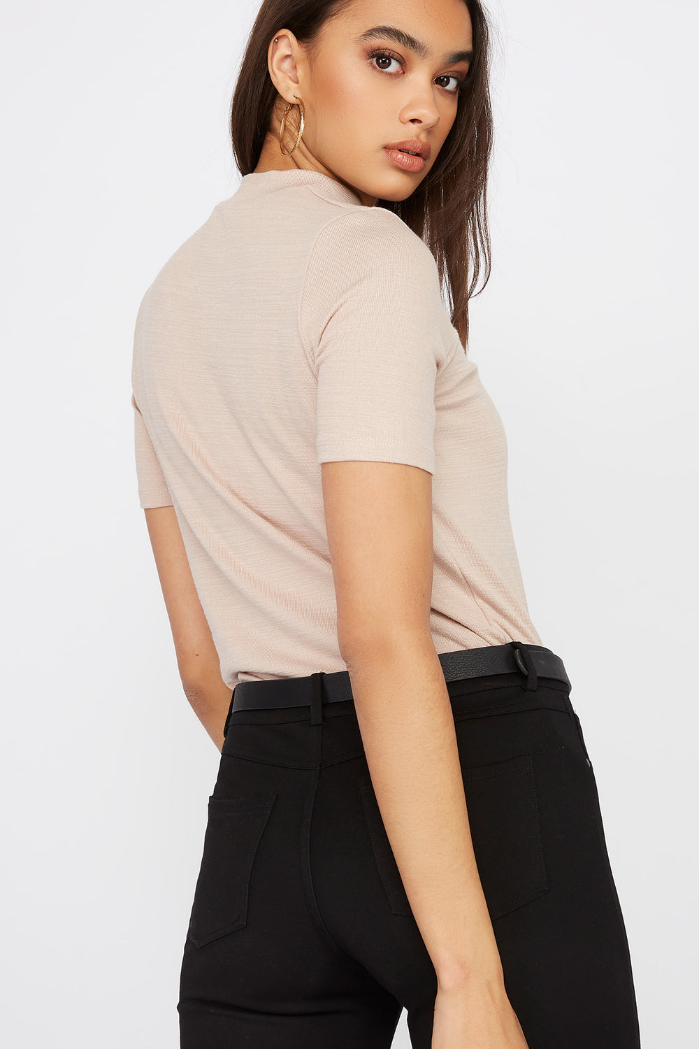 Heather Mock Neck Short Sleeve Oatmeal