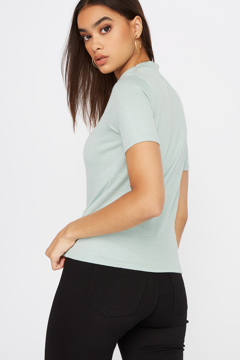 Heather Mock Neck Short Sleeve Sage