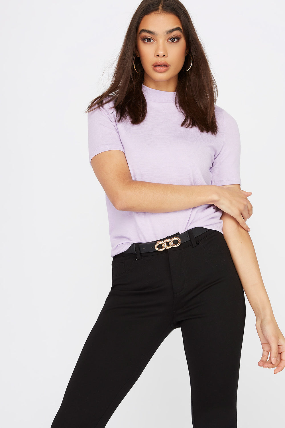 Heather Mock Neck Short Sleeve Lilac