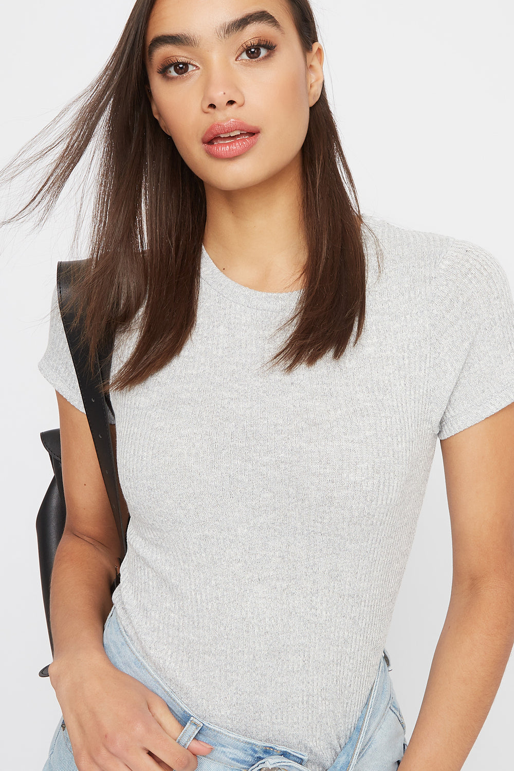 Ribbed Crew Neck T-Shirt Heather Grey