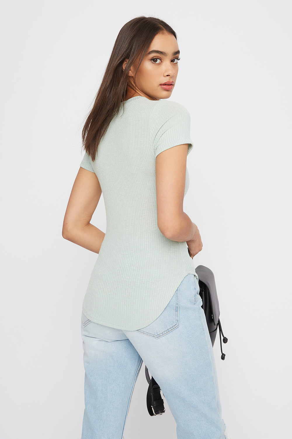 Ribbed Crew Neck T-Shirt Sage
