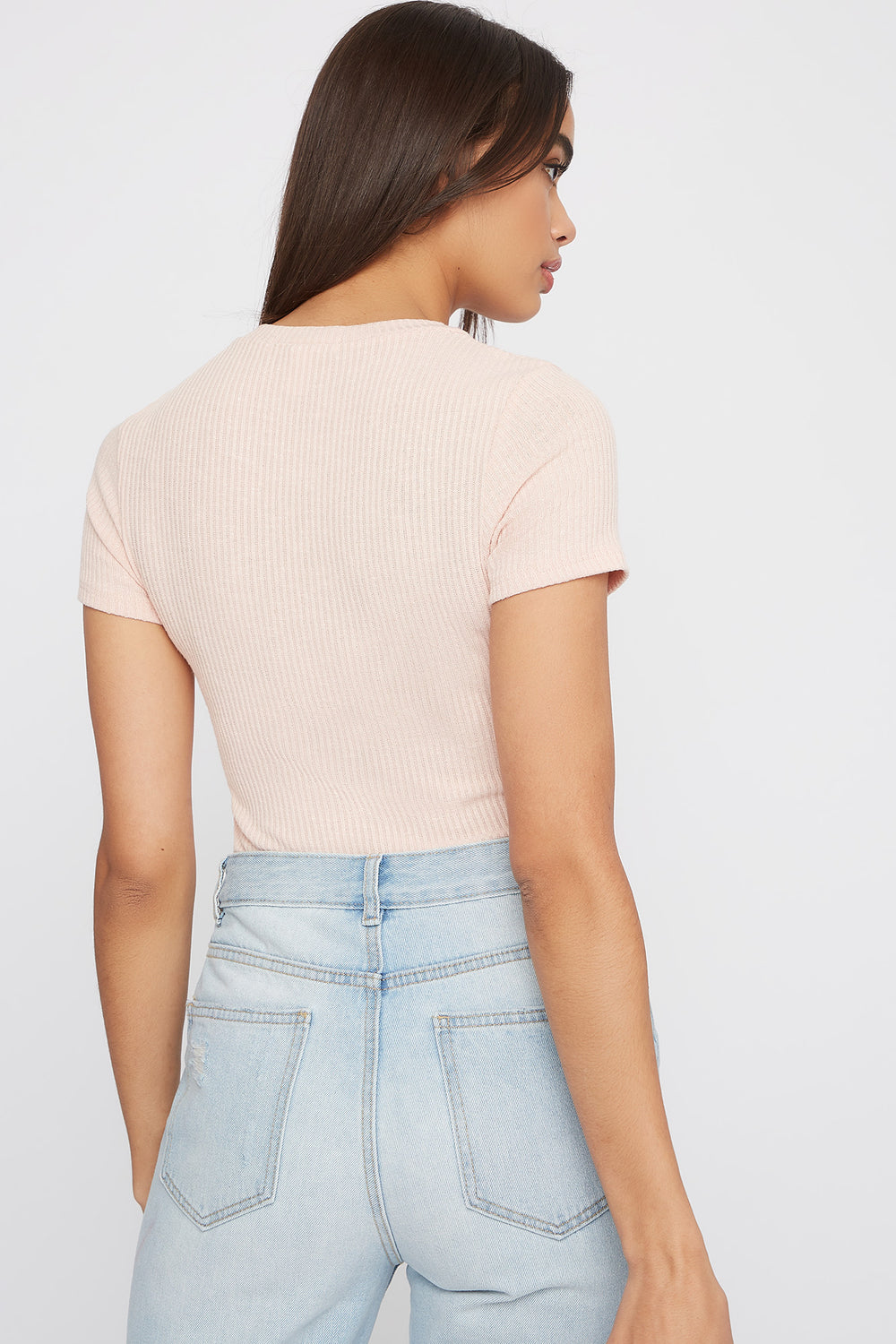Ribbed Crew Neck T-Shirt Dusty Rose