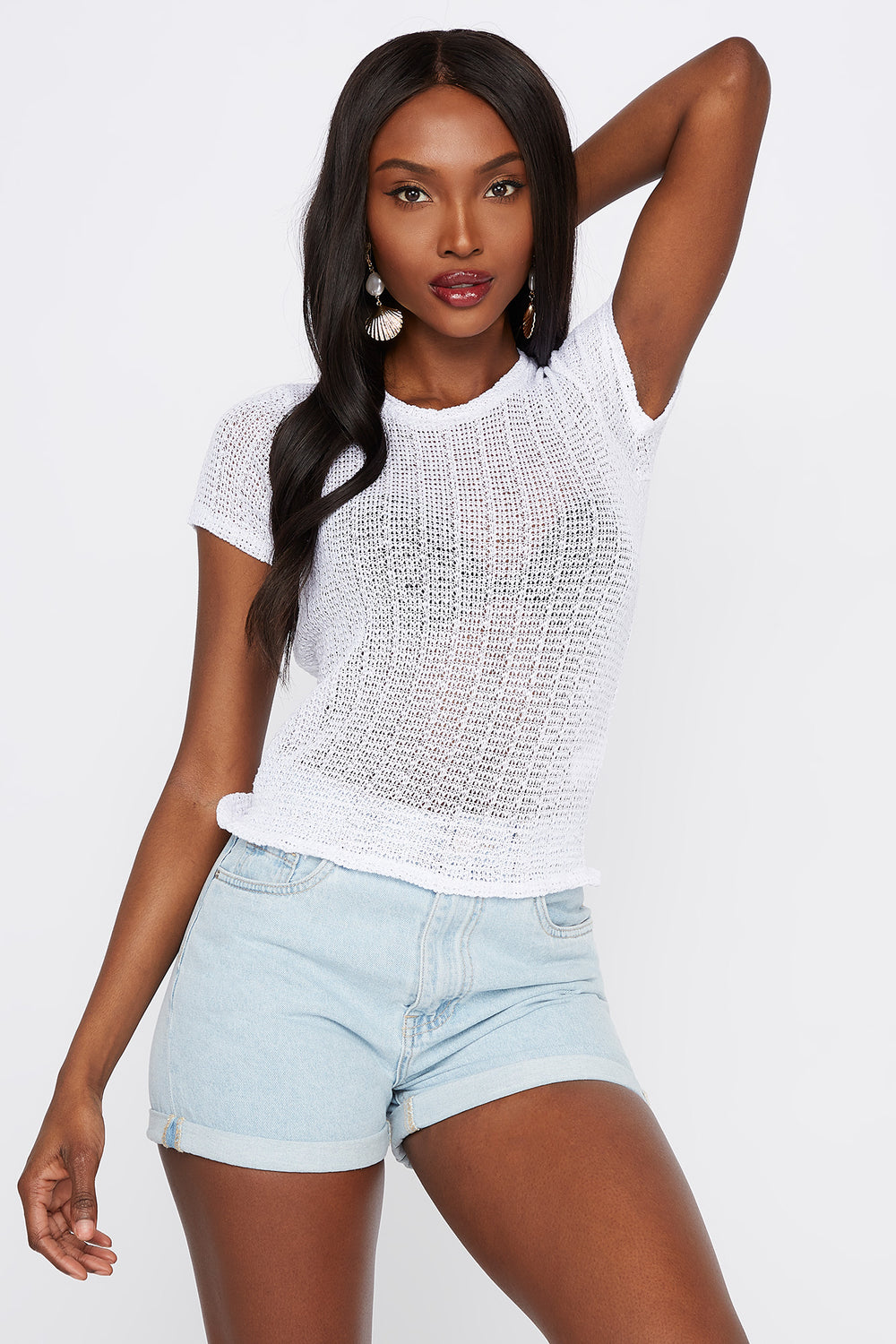 Textured Smocked Crew Neck T-Shirt White