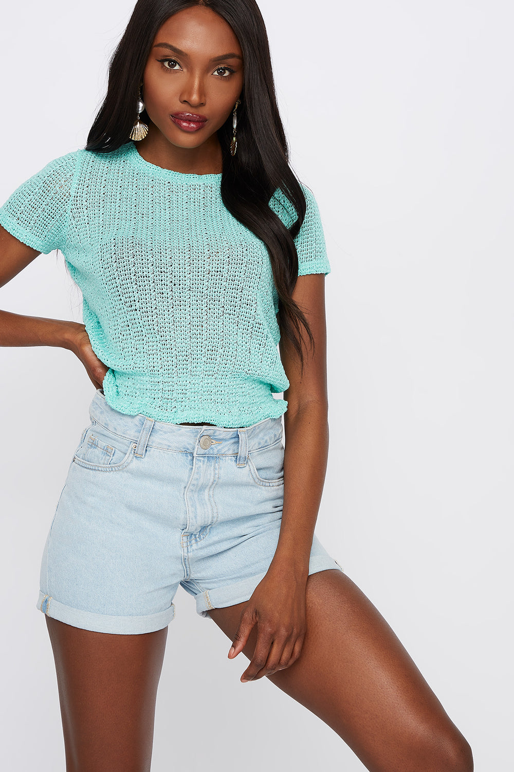Textured Smocked Crew Neck T-Shirt Ocean Blue