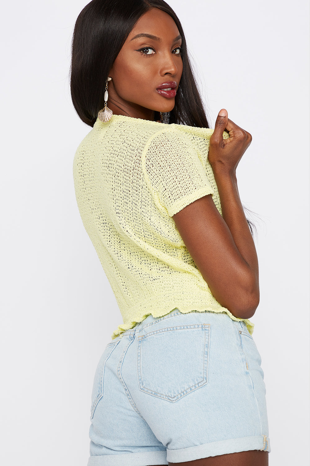 Textured Smocked Crew Neck T-Shirt Pale Yellow
