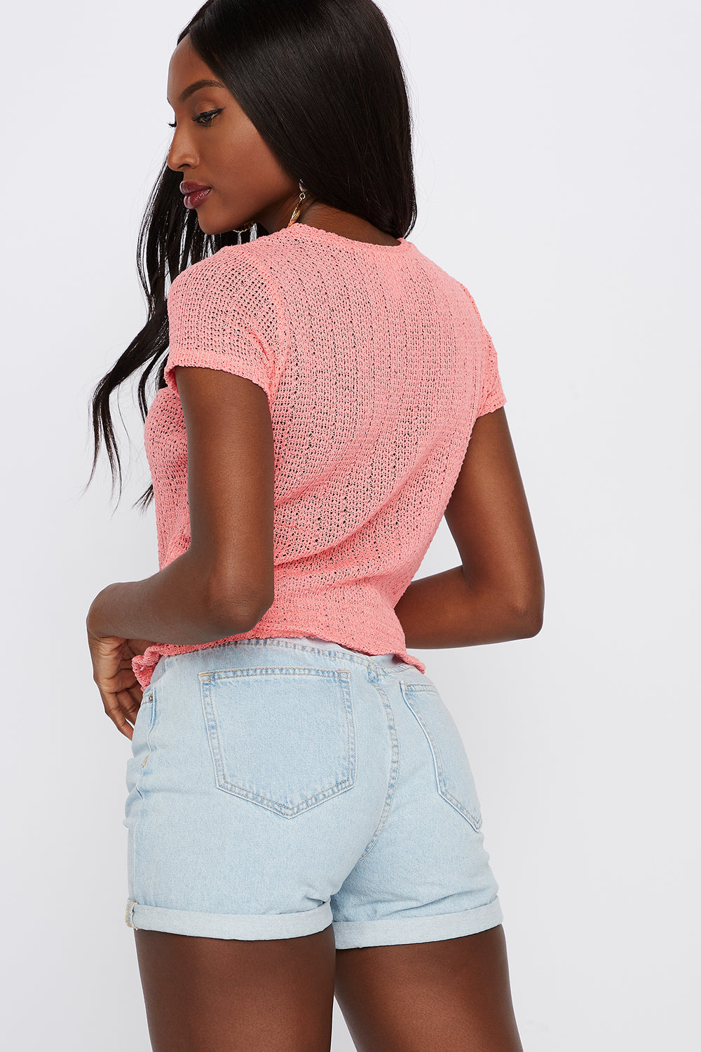Textured Smocked Crew Neck T-Shirt Dusty Rose