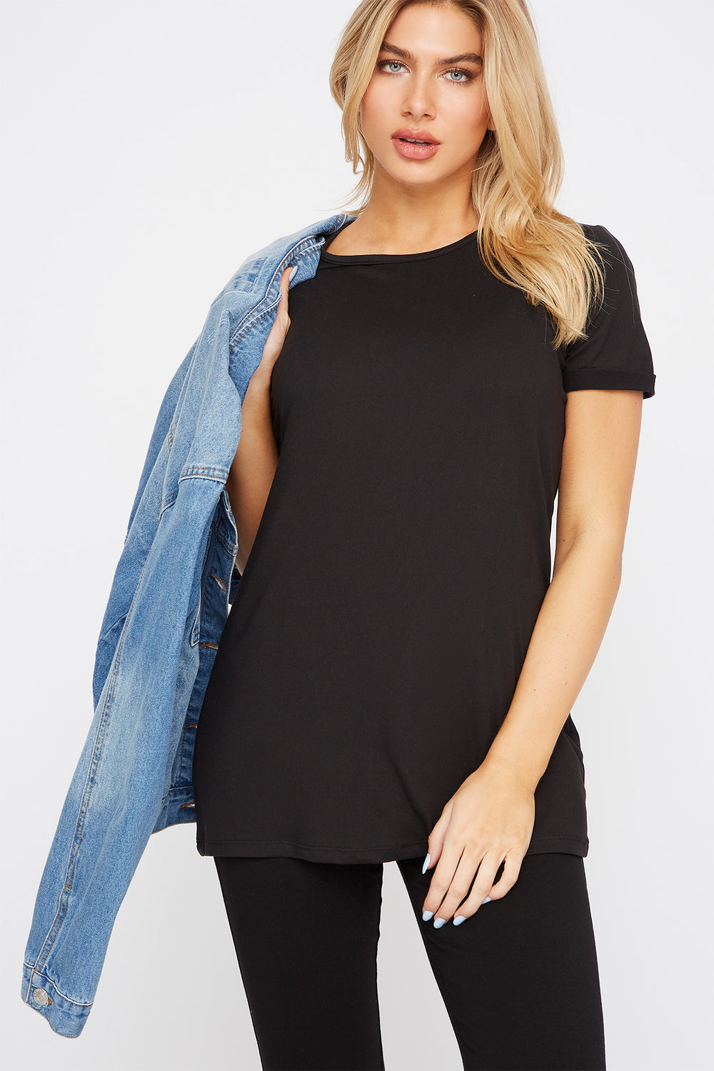 Soft Scoop Neck Cuffed Sleeve T-Shirt Black