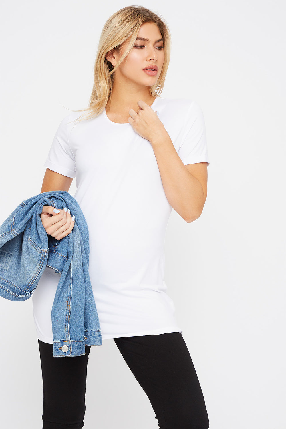 Soft Scoop Neck Cuffed Sleeve T-Shirt White