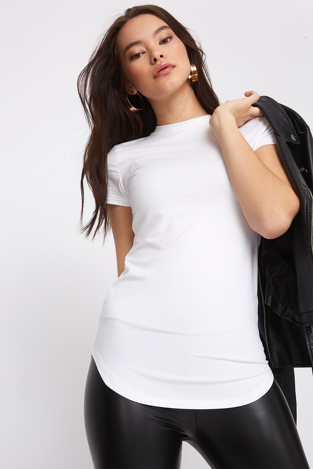 Soft Crew Neck Tunic T-Shirt White