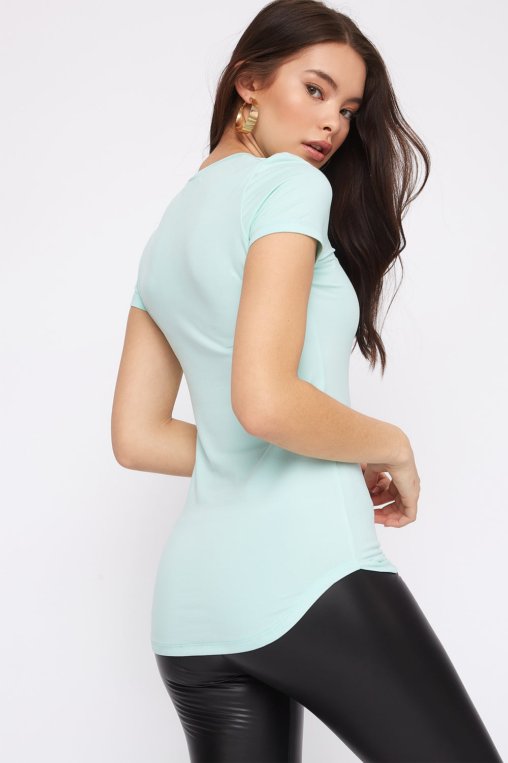 Soft Crew Neck Tunic T-Shirt Sage