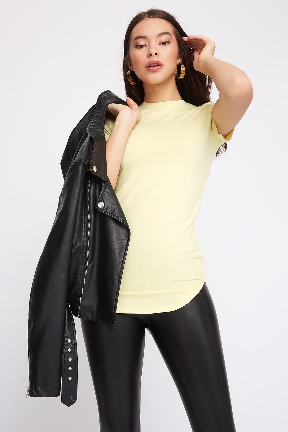 Soft Crew Neck Tunic T-Shirt Pale Yellow