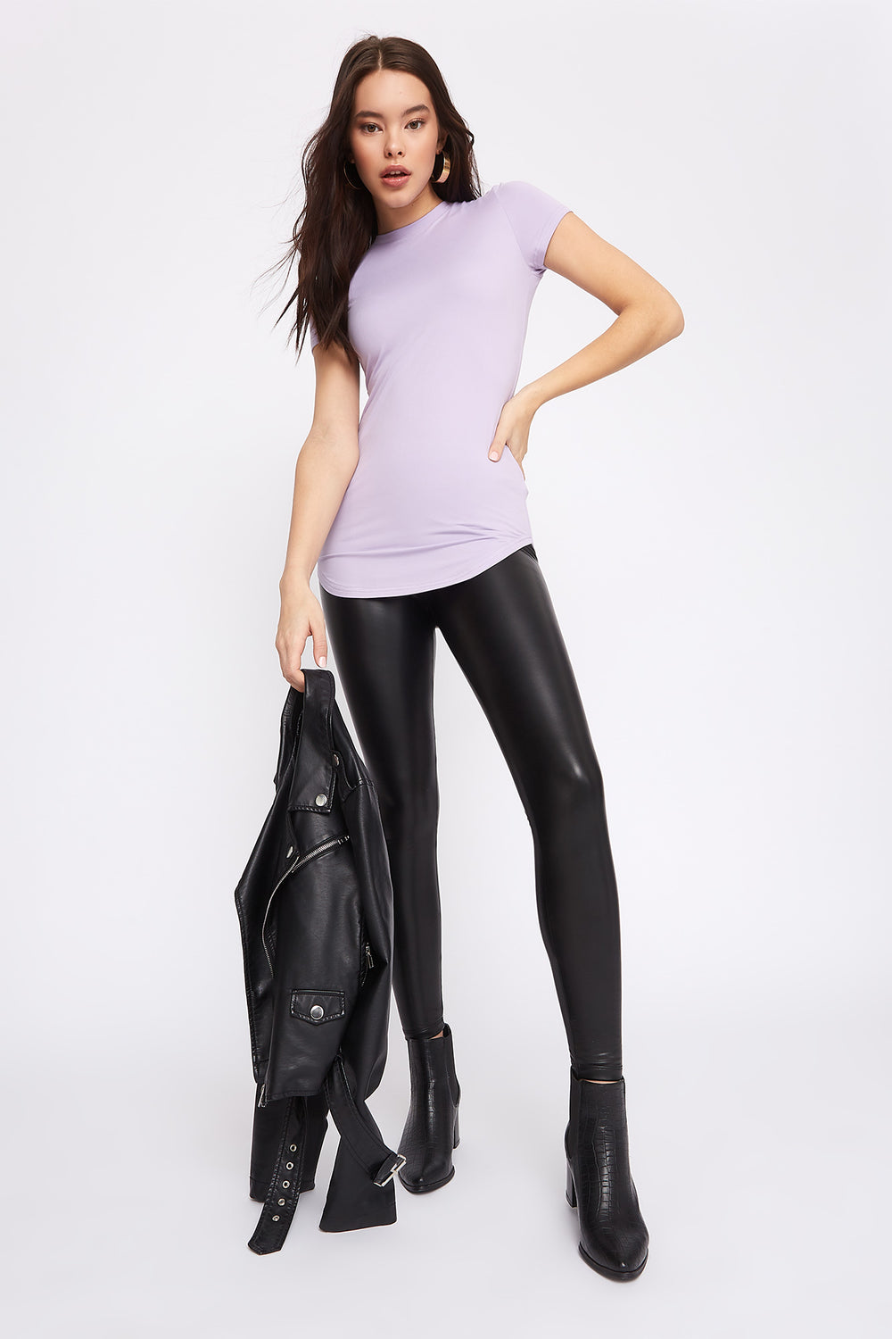 Soft Crew Neck Tunic T-Shirt Lilac