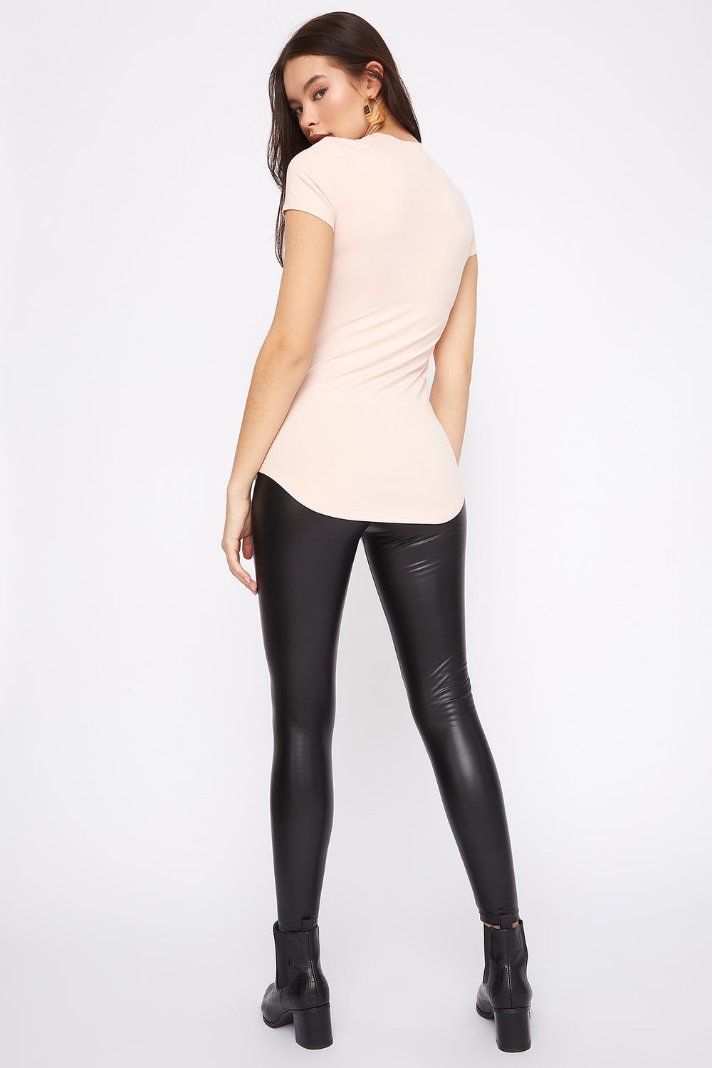 Soft Crew Neck Tunic T-Shirt Light Pink