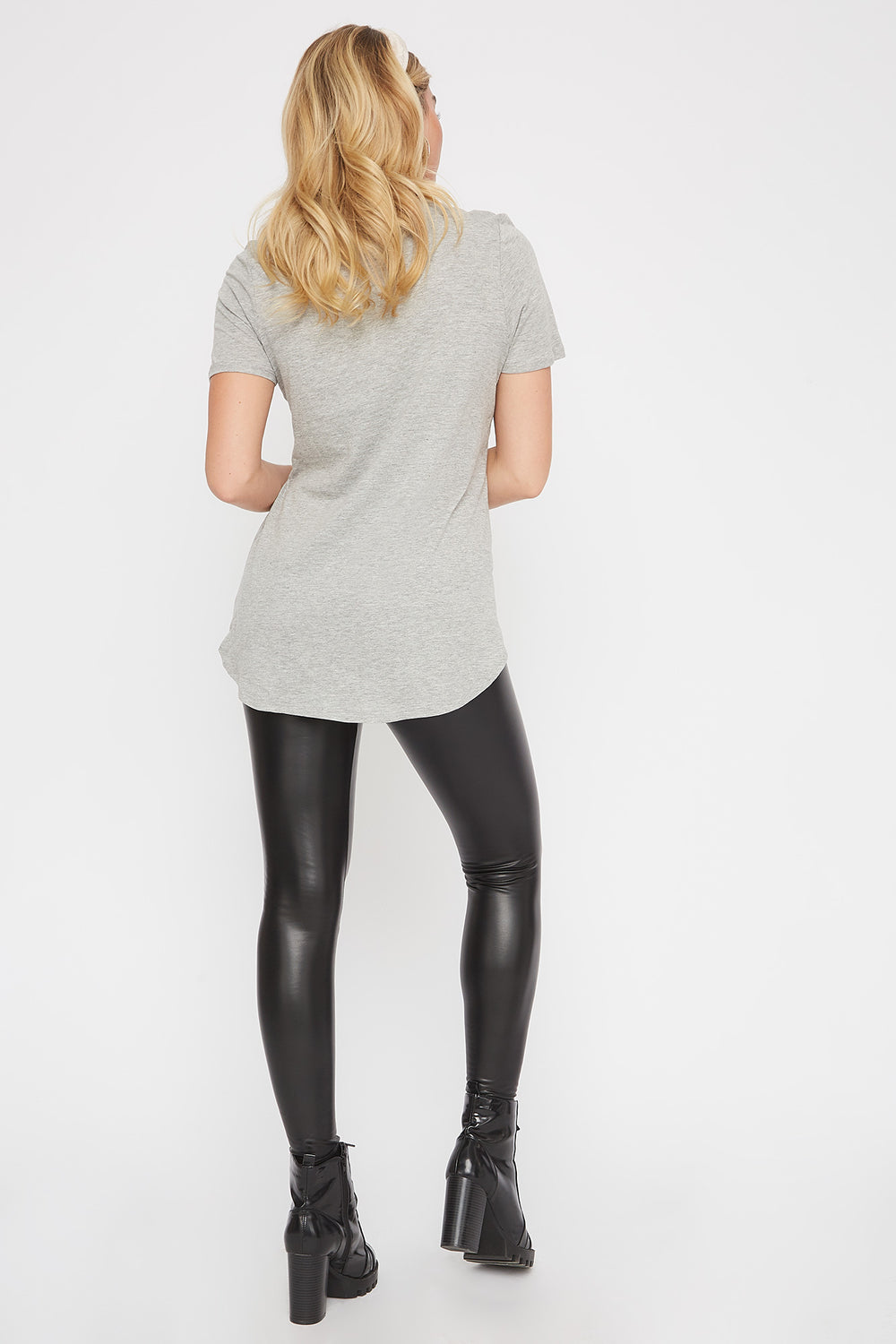 Slit Scoop Neck T-Shirt Heather Grey