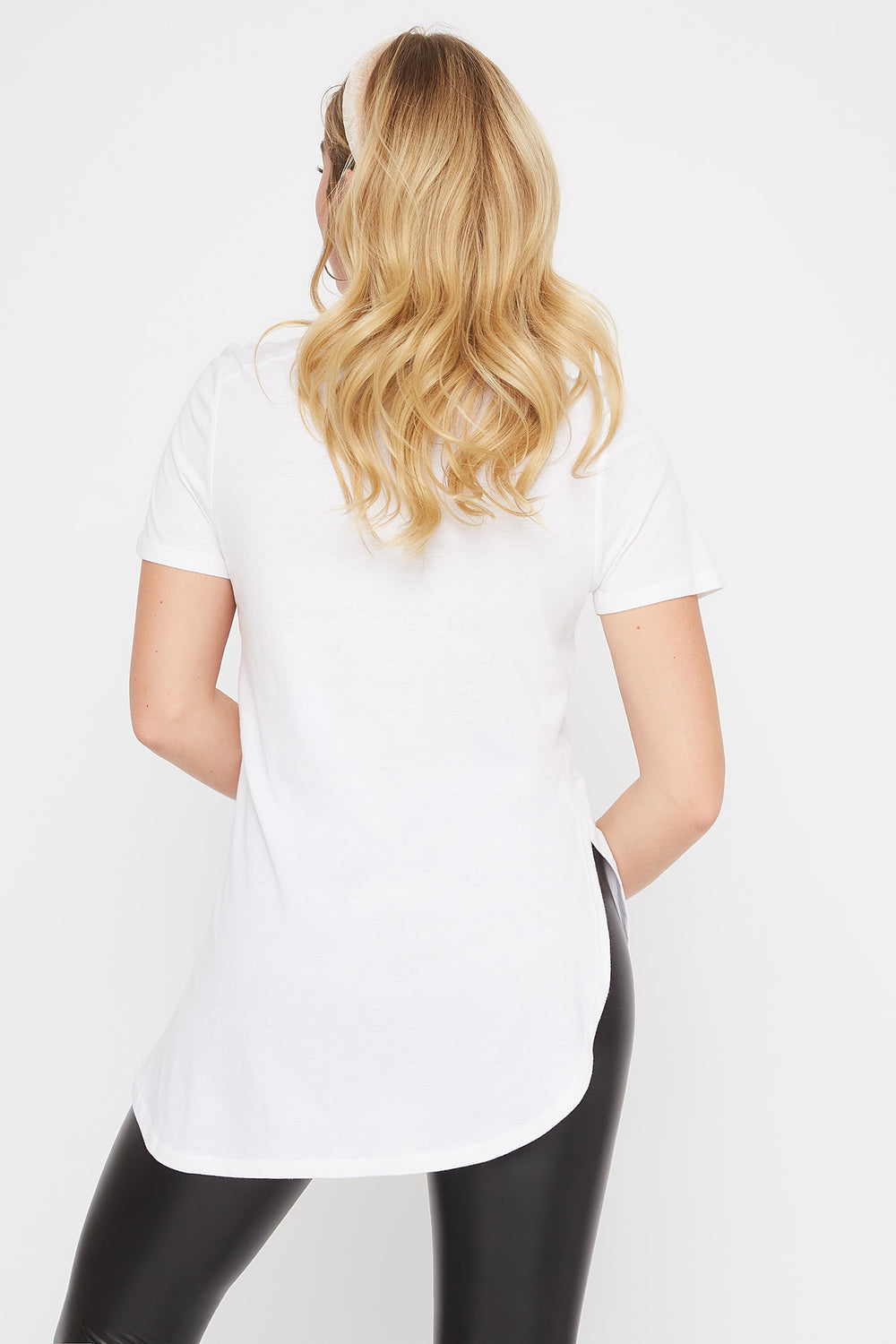 Slit Scoop Neck T-Shirt White