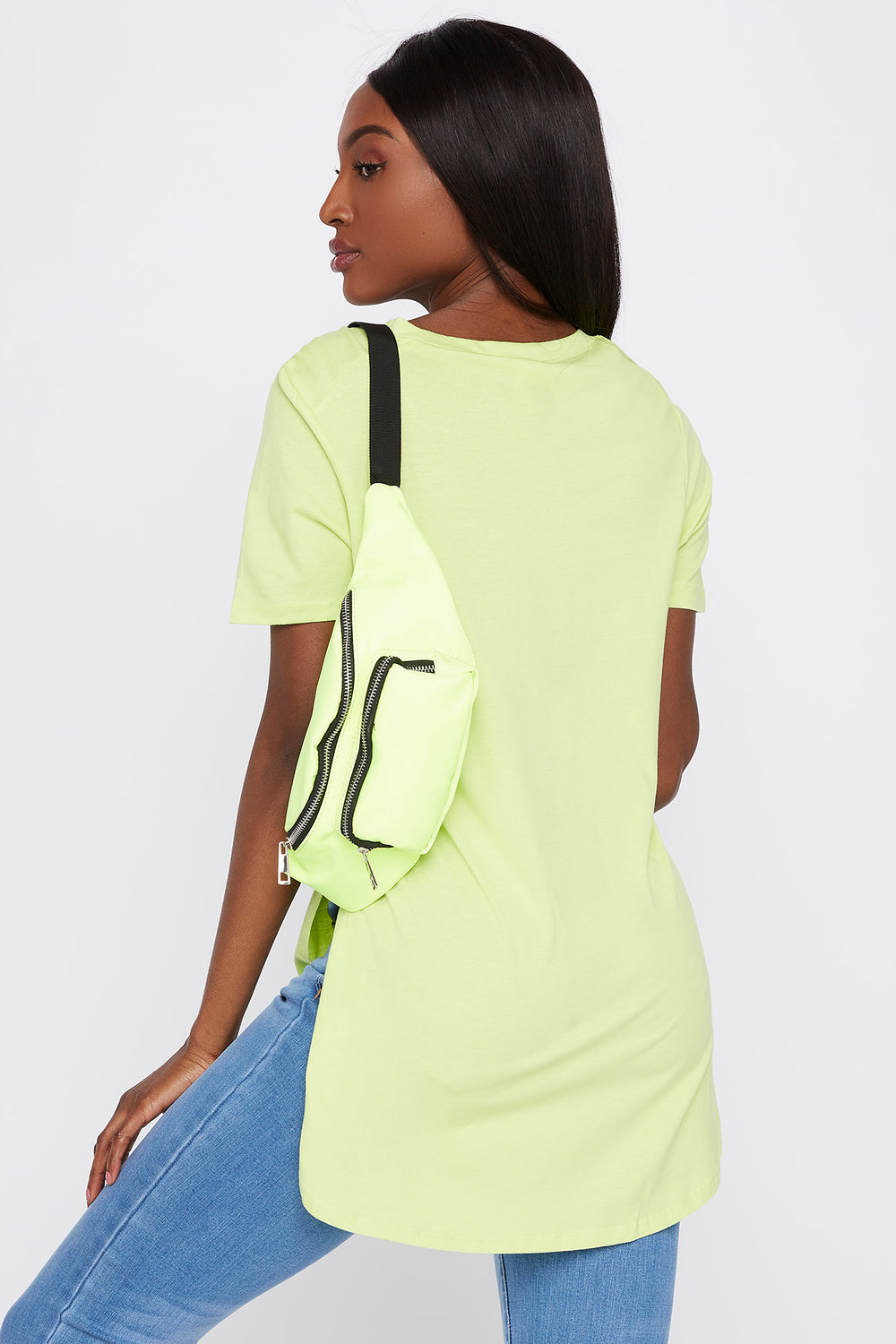 Slit Scoop Neck T-Shirt Neon Yellow