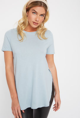 Crew Neck Side Slit T-Shirt