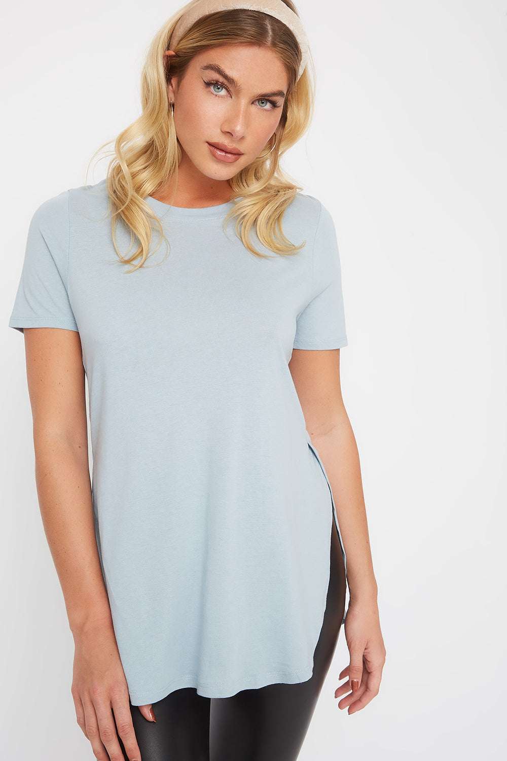 Slit Scoop Neck T-Shirt Light Blue