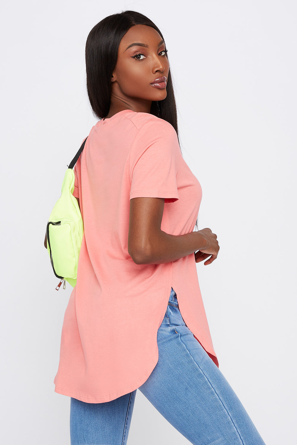 Slit Scoop Neck T-Shirt Pink