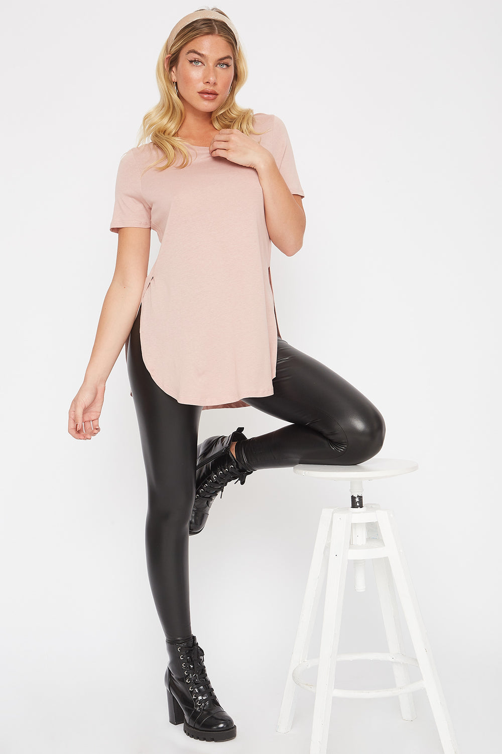 Slit Scoop Neck T-Shirt Dusty Rose
