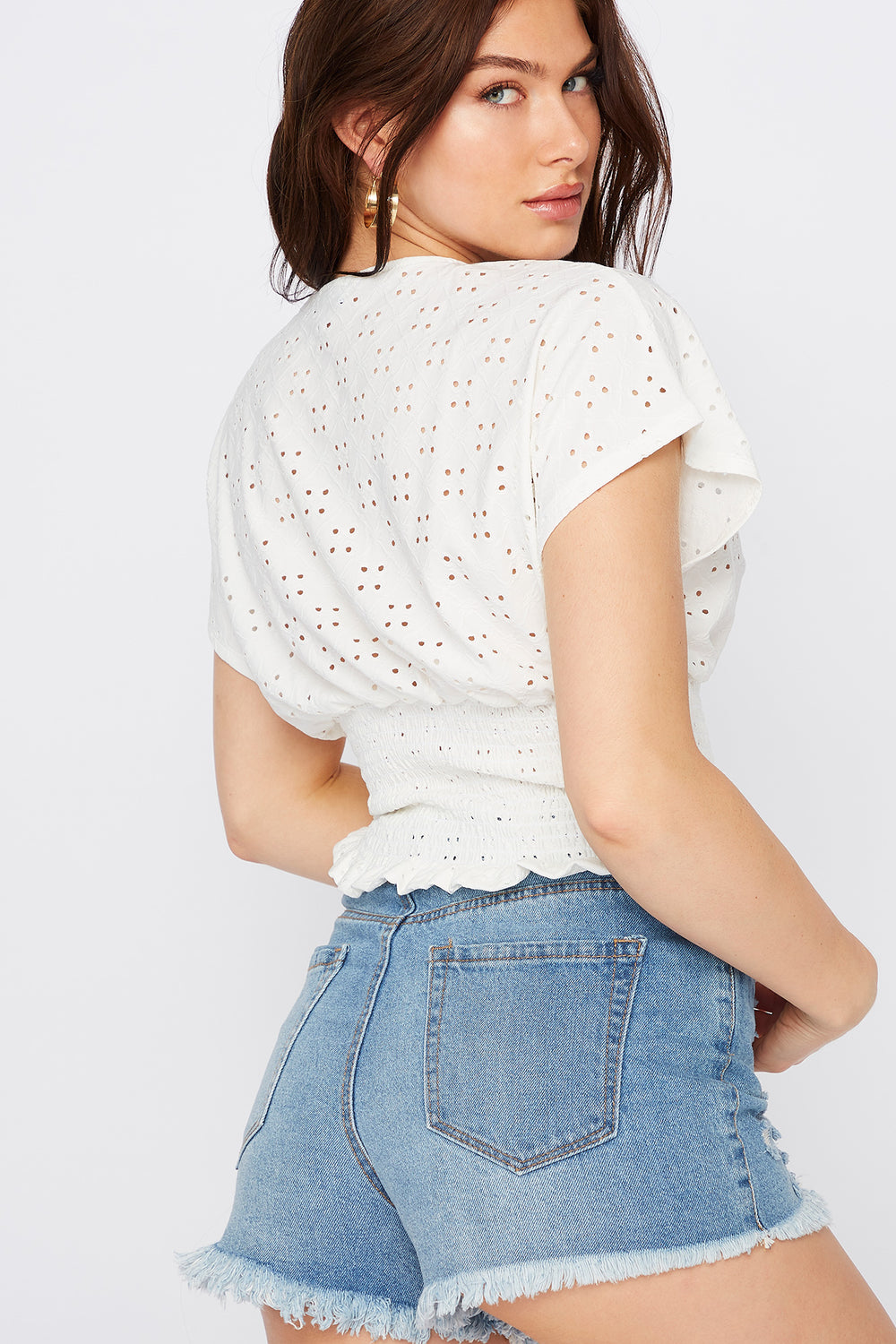 Smocked Button-Up Eyelet Blouse White