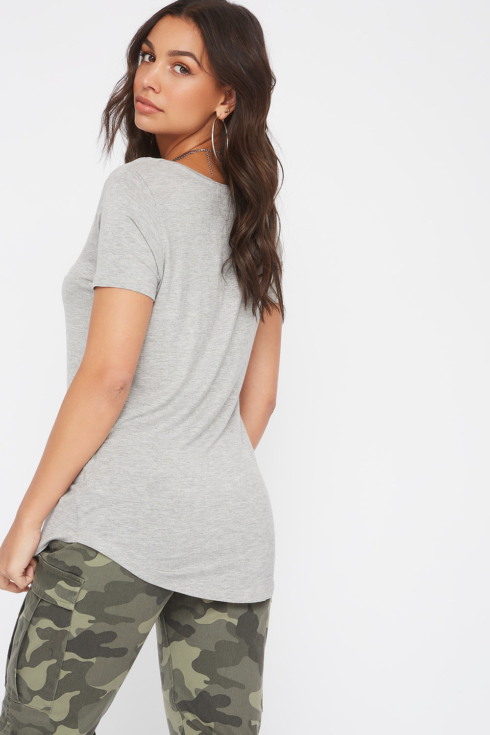 Curve Hem V-Neck T-Shirt Heather Grey