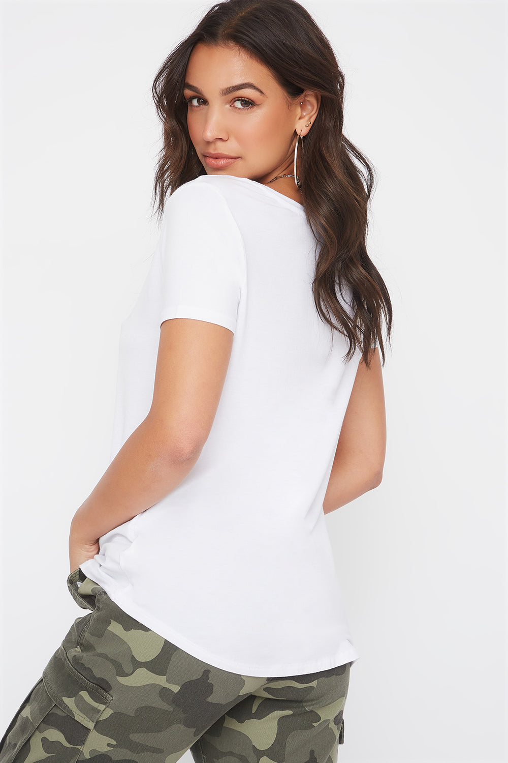 Curve Hem V-Neck T-Shirt White