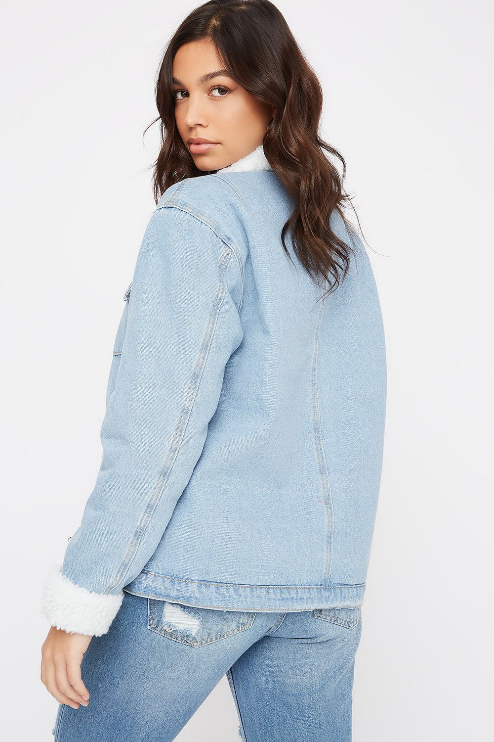 Sherpa Lined Denim Jacket Light Denim Blue