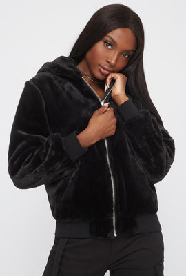 Reversible Faux-Fur Bomber Jacket
