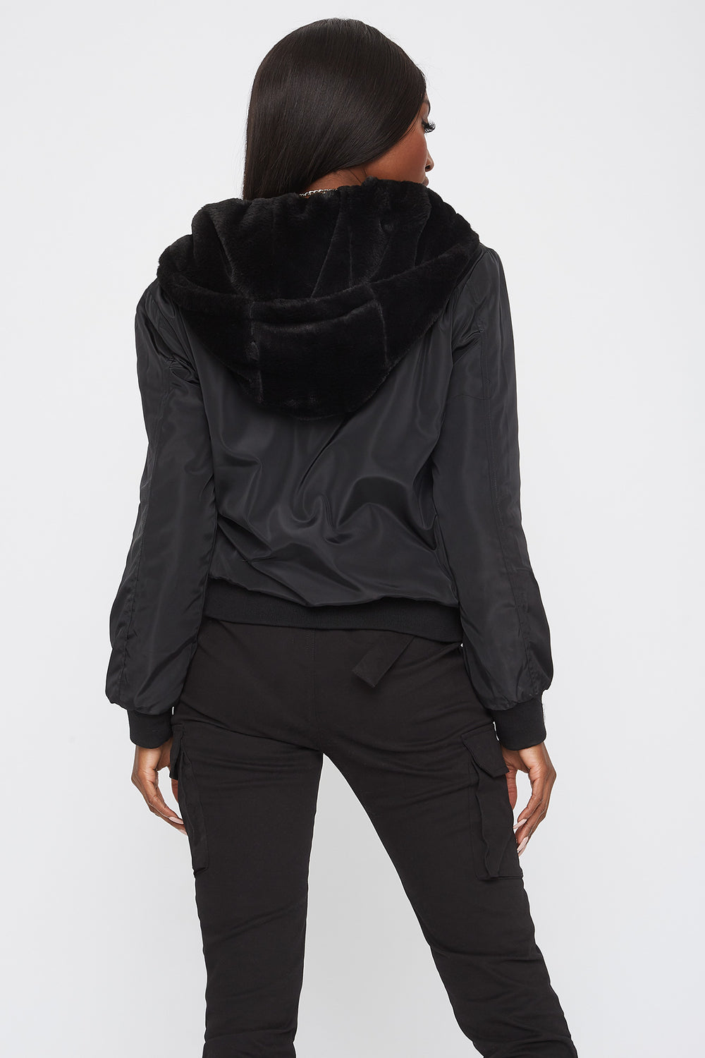 Reversible Faux-Fur Bomber Jacket Black