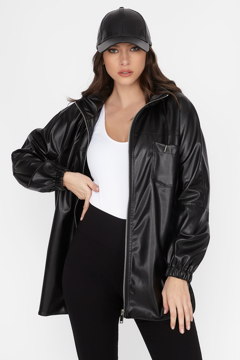 Faux-Leather Zip-Up Longline Hooded Jacket Black