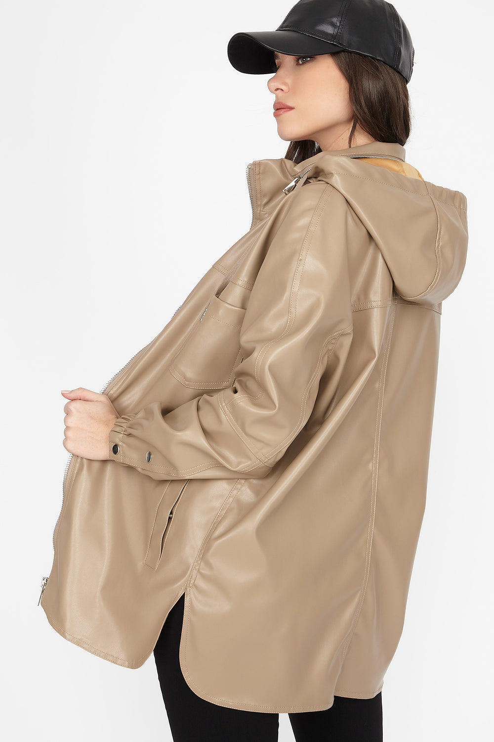 Faux-Leather Zip-Up Longline Hooded Jacket Tan
