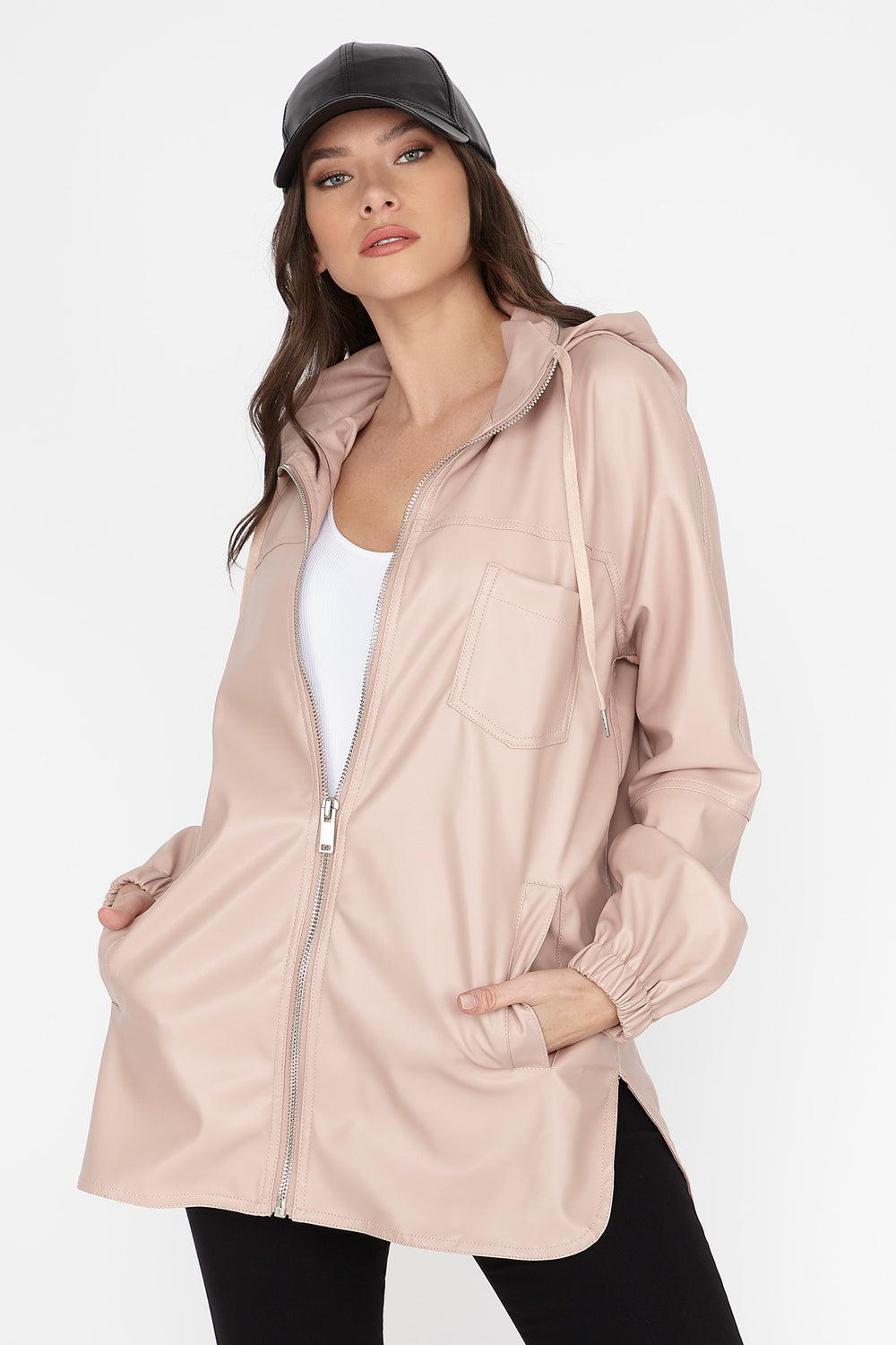 Faux-Leather Zip-Up Longline Hooded Jacket Mauve