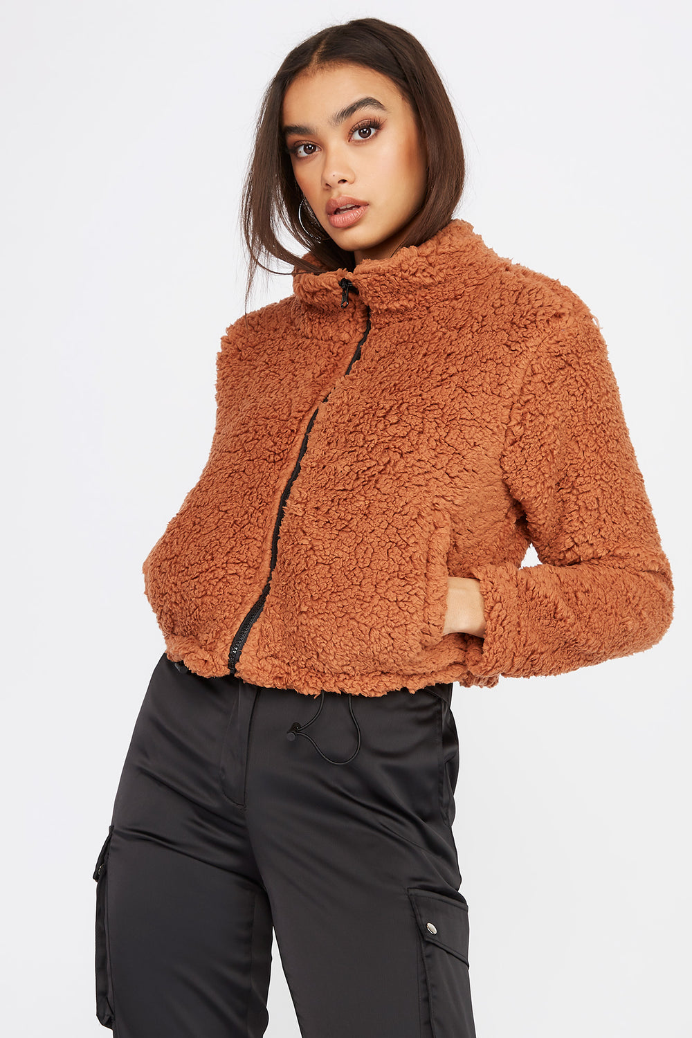 Teddy Bomber Jacket Rust