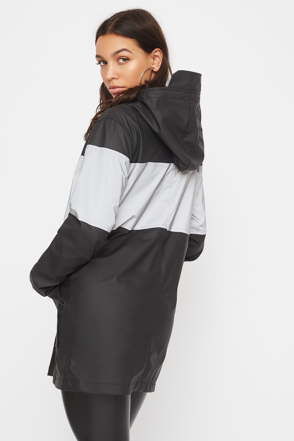 Longline Reflective Windbreaker Jacket Black