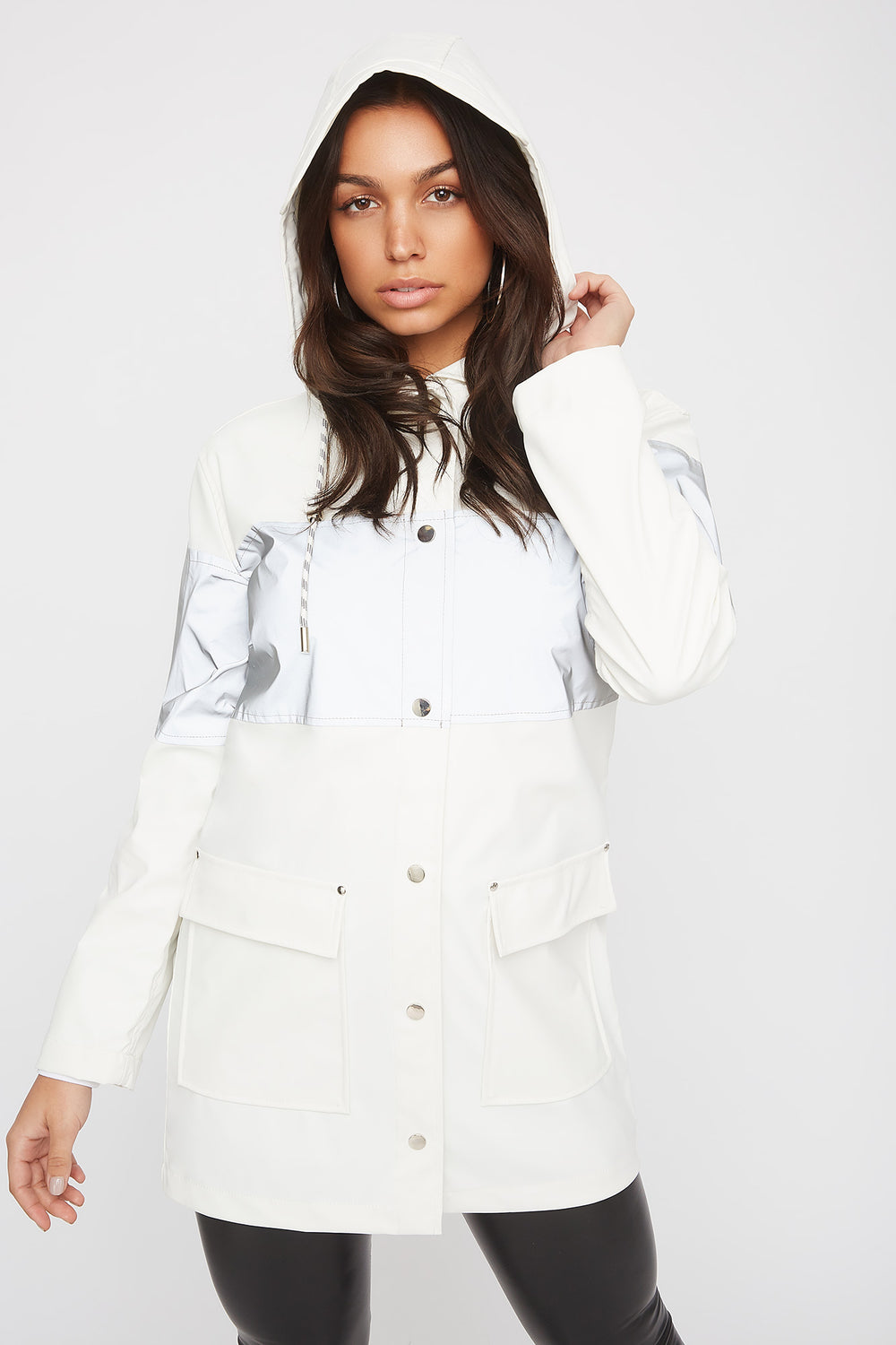 Longline Reflective Windbreaker Jacket White