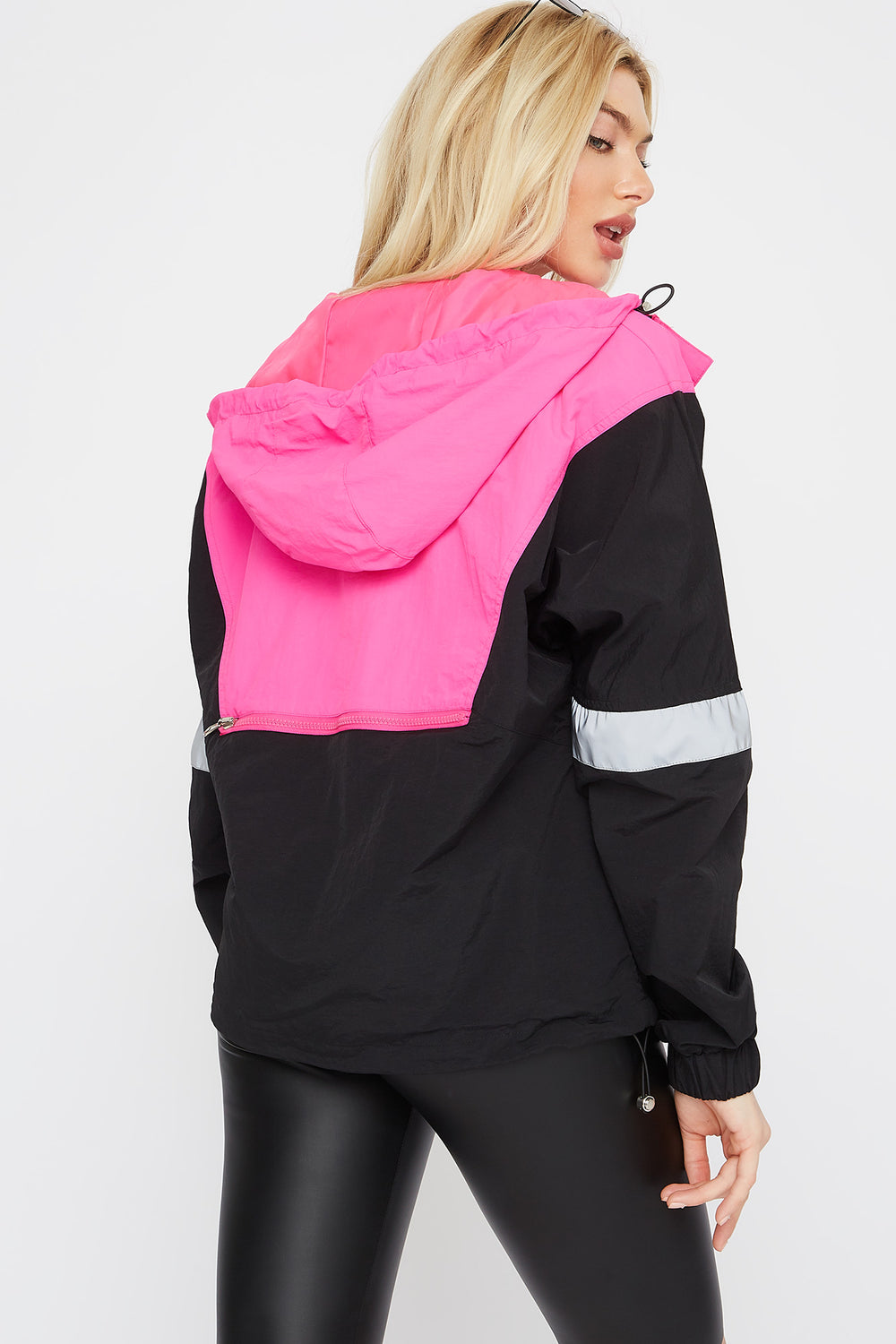 Colour Block Reflective Stripe Anorak Windbreaker Hoodie Neon Pink