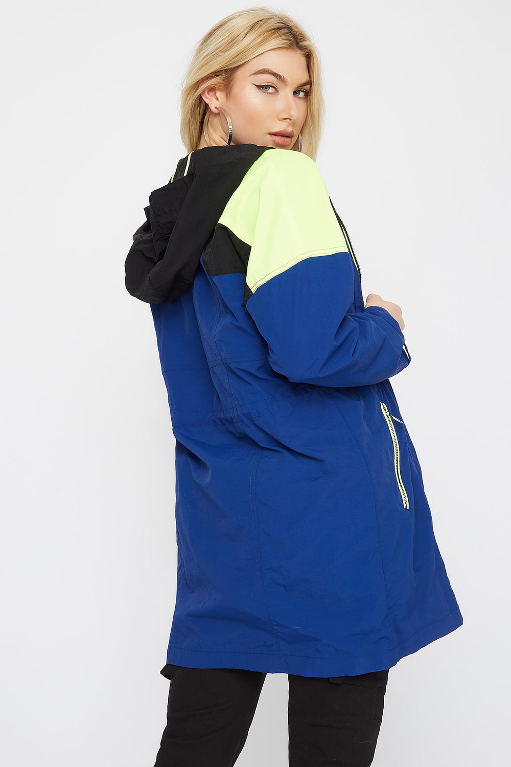 Colour Block Drawstring Windbreaker Jacket Assorted