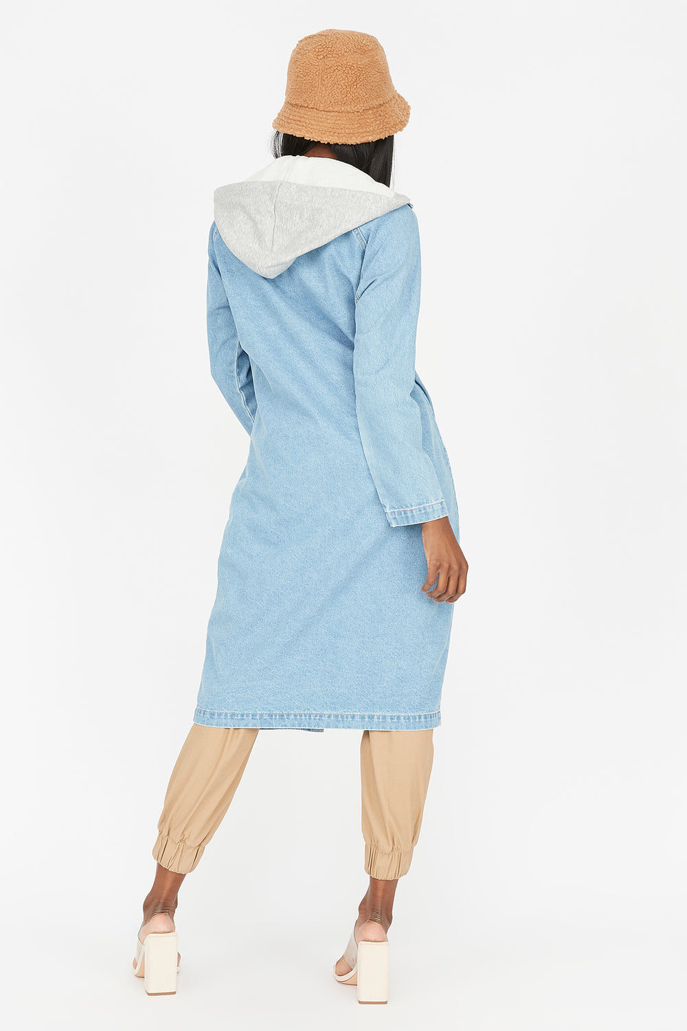 Denim Longline Hooded Jacket Light Denim Blue
