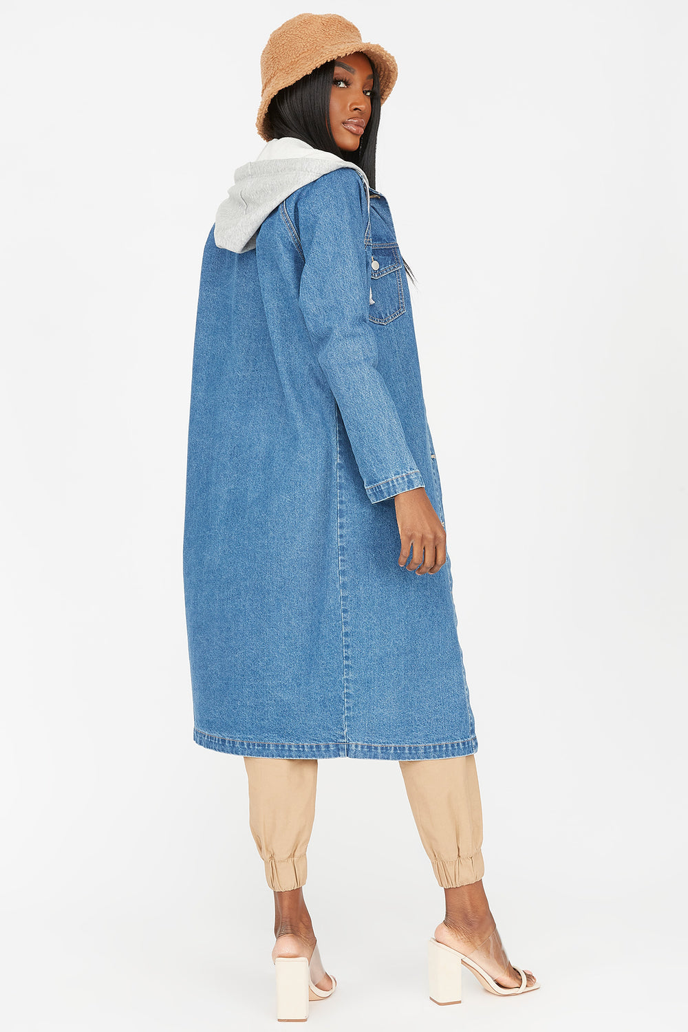 Denim Longline Hooded Jacket Denim Blue