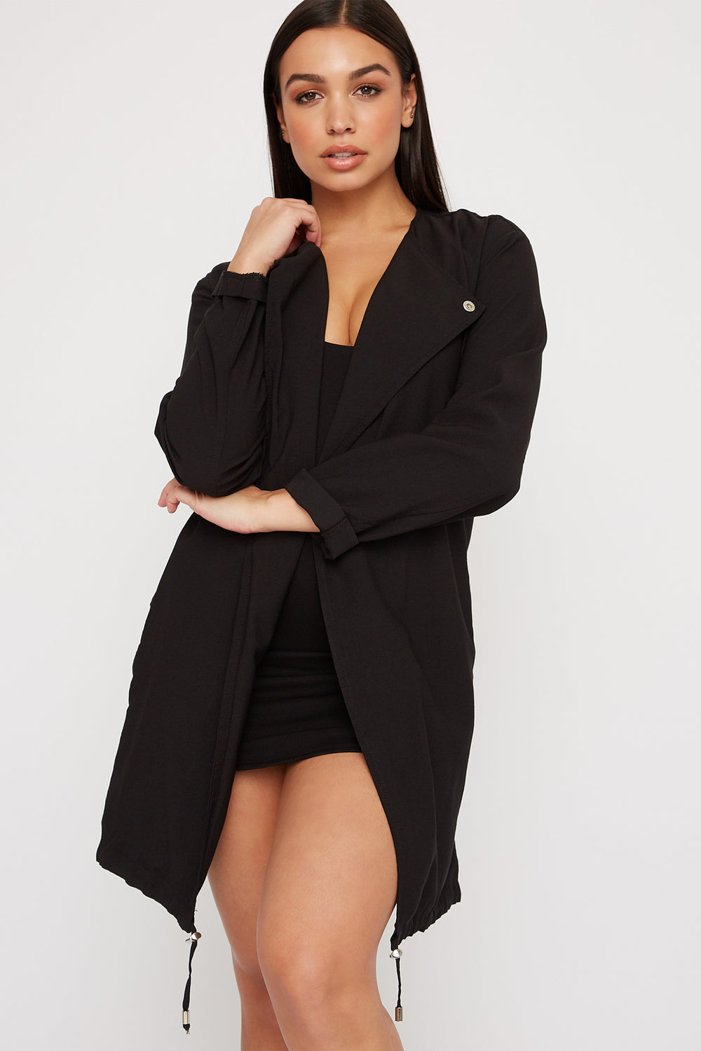 Women Outerwear Open-Front Belted Waterfall Jacket Black