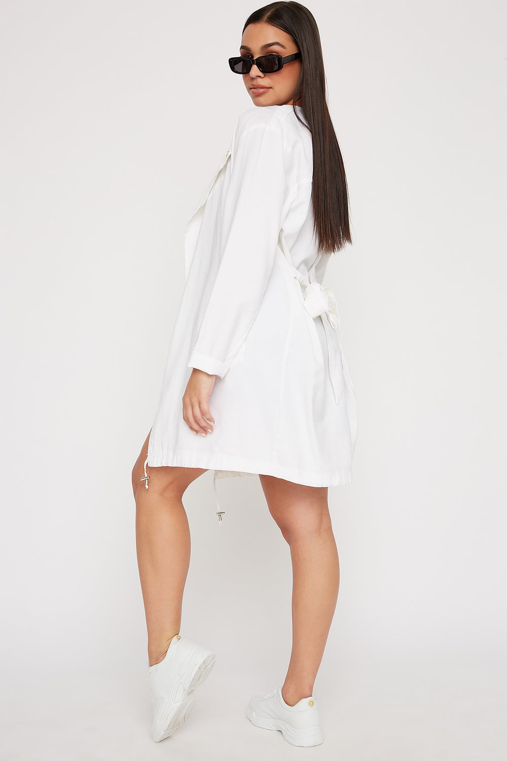 Women Outerwear Open-Front Belted Waterfall Jacket White